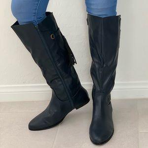 Navy Blue Tassel Fringe Knee High Flat Boot